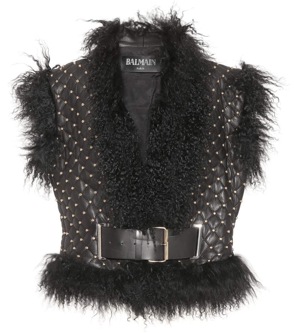 Balmain Studded Leather Vest In Black