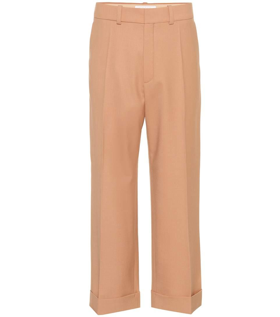 ChloÉ Cropped Wool Trousers In Pink