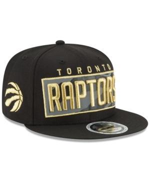New Era Toronto Raptors Golden Reflective 9Fifty Snapback Cap In Black/Metallic Gold/Reflective Silver