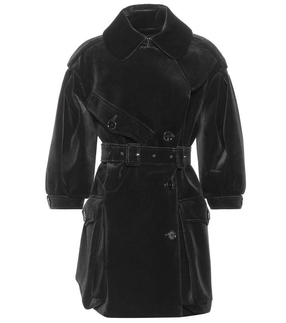 Simone Rocha Velvet Trench Coat In Llack