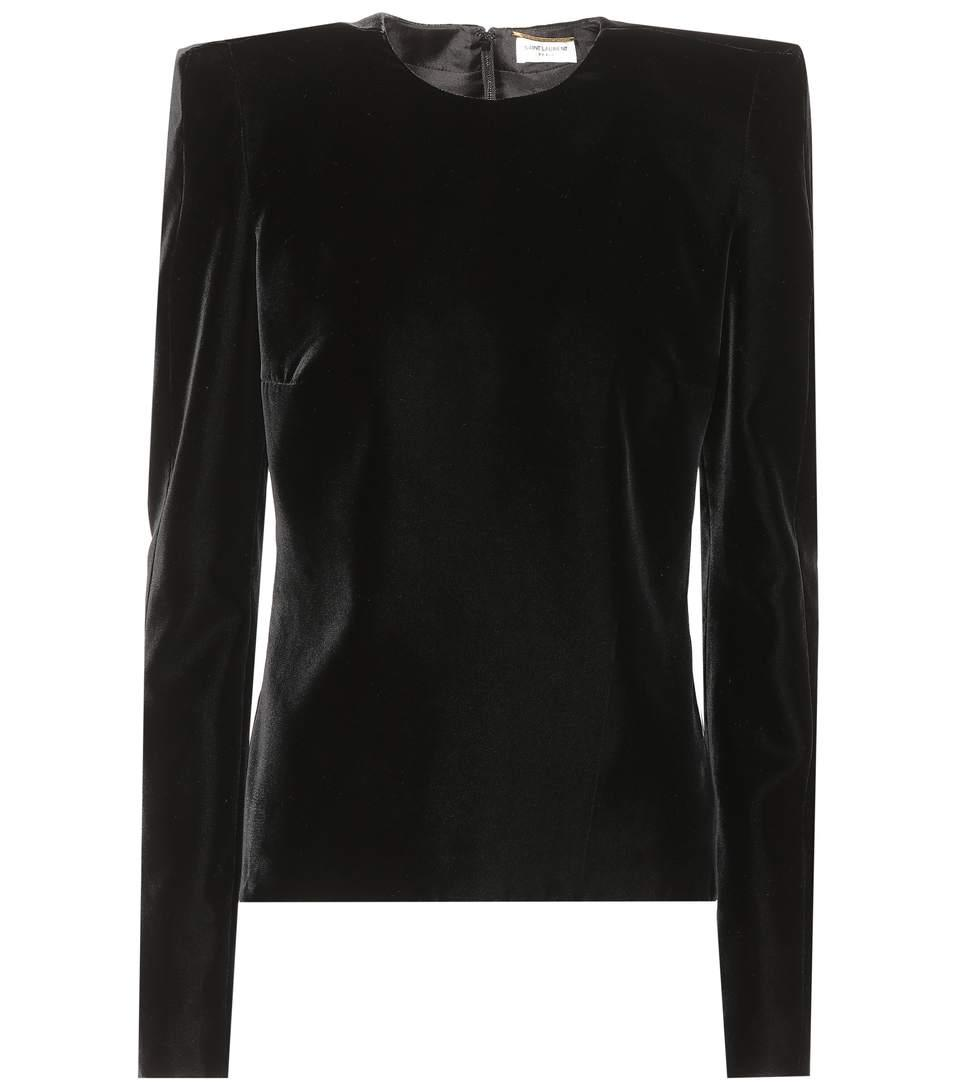 Saint Laurent Velvet Top In Black