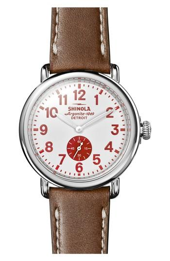 Shinola 'The Runwell' Leather Strap Watch, 41Mm In Brown/ White/ Silver