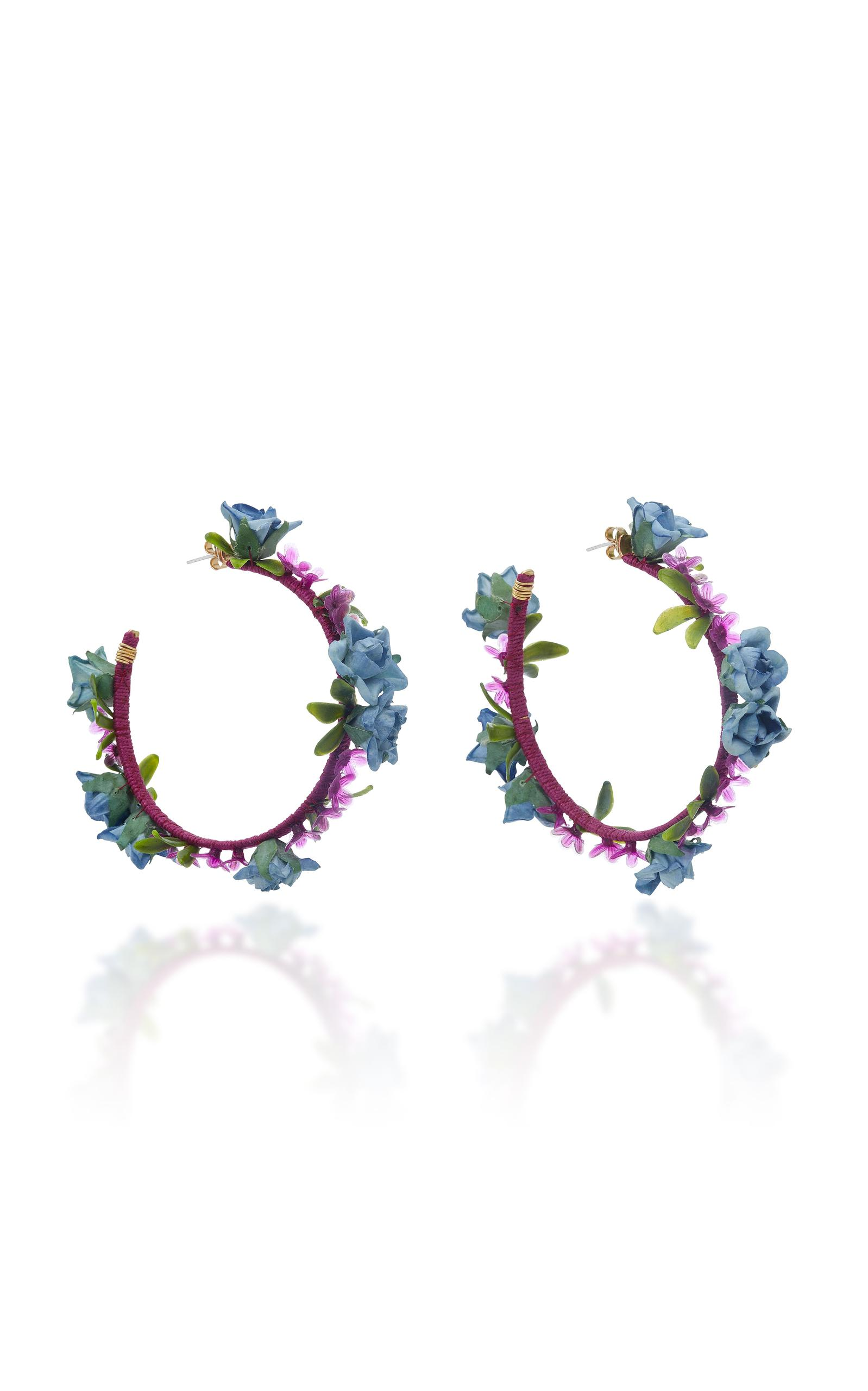 Mercedes Salazar Flower Brass Earrings In Burgundy