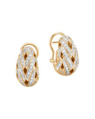 John Hardy 18K Yellow Gold Classic Chain Pave Diamond Buddha Belly Earrings In White/Gold