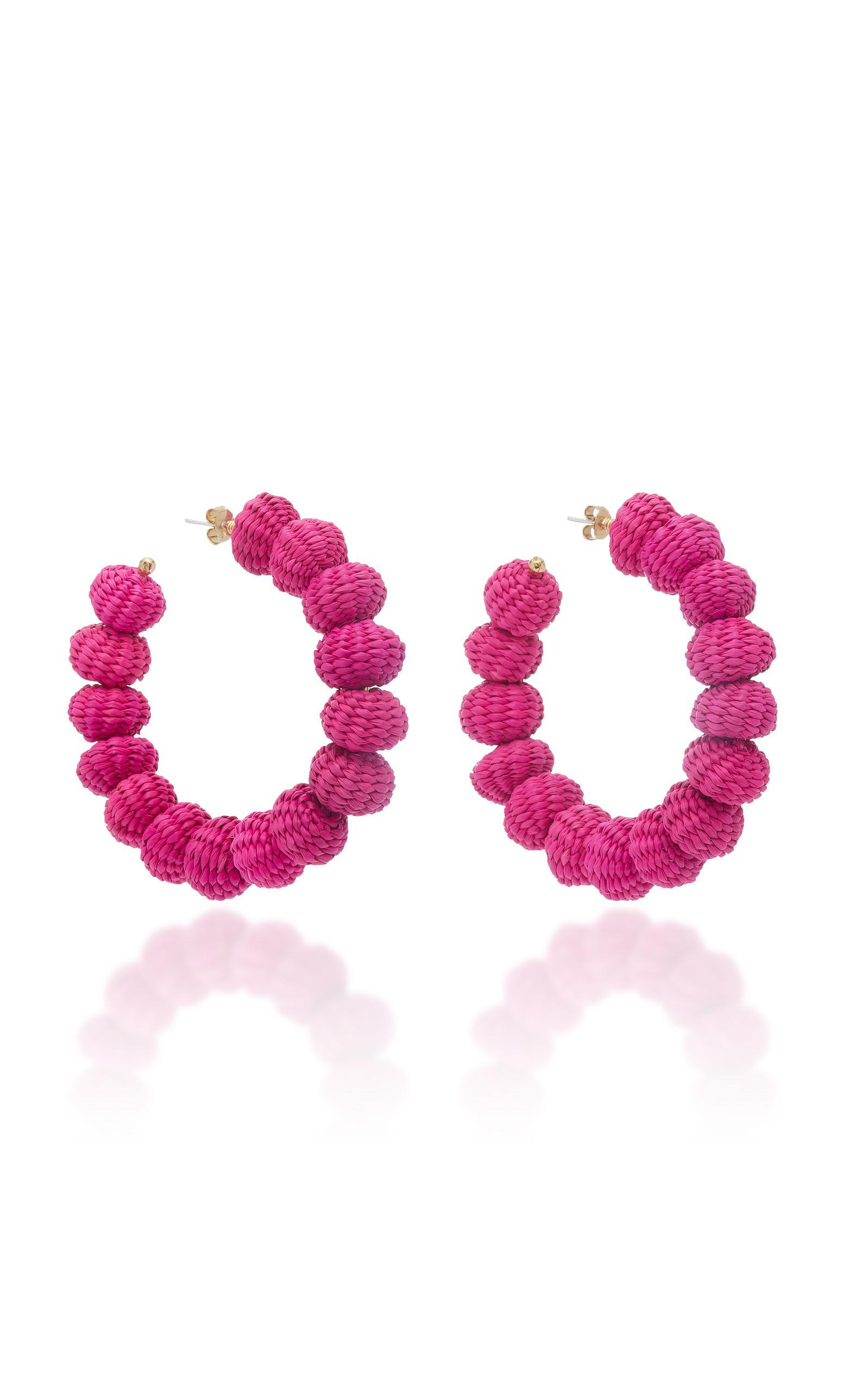 Mercedes Salazar Candongas Hoop Earrings In Pink