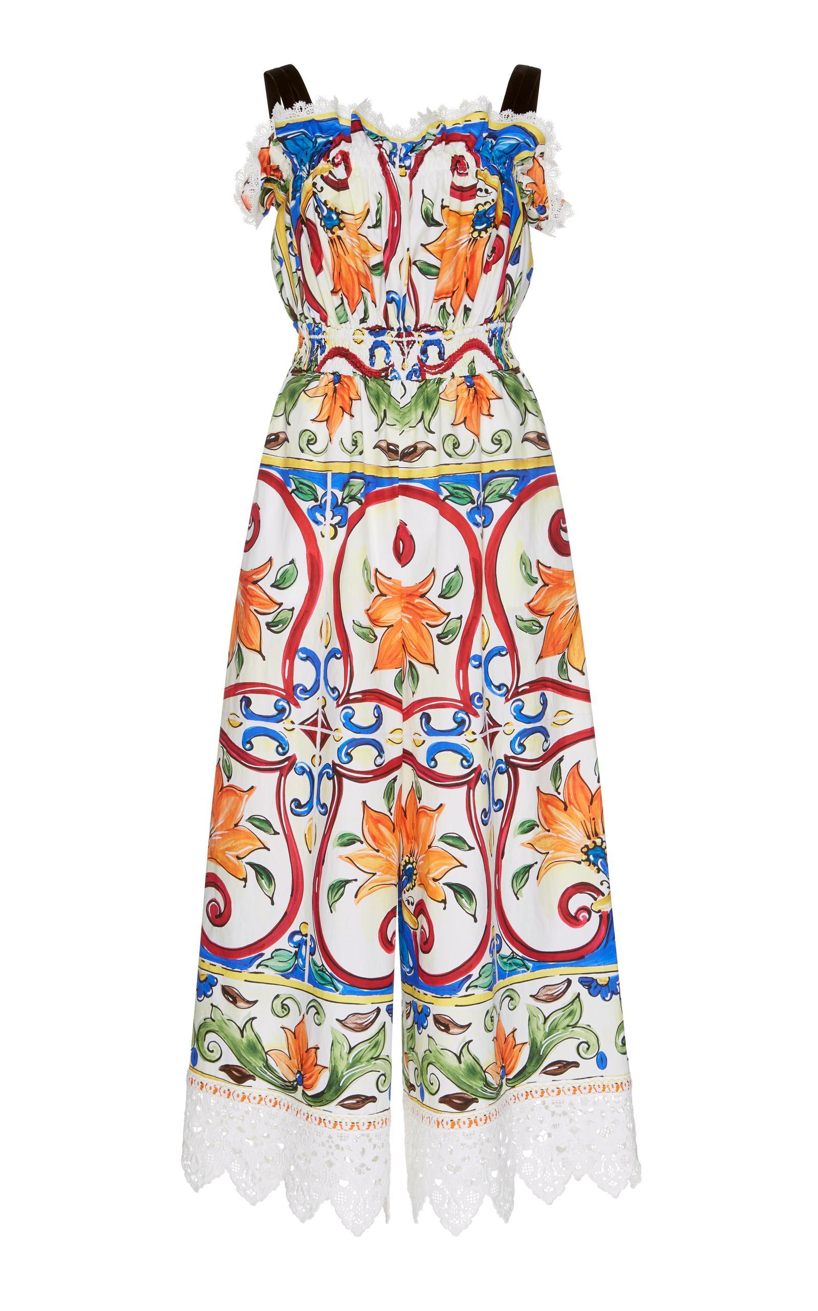 Dolce & Gabbana Leopard- & Tile-Print Cotton-Blend Poplin Jumpsuit
