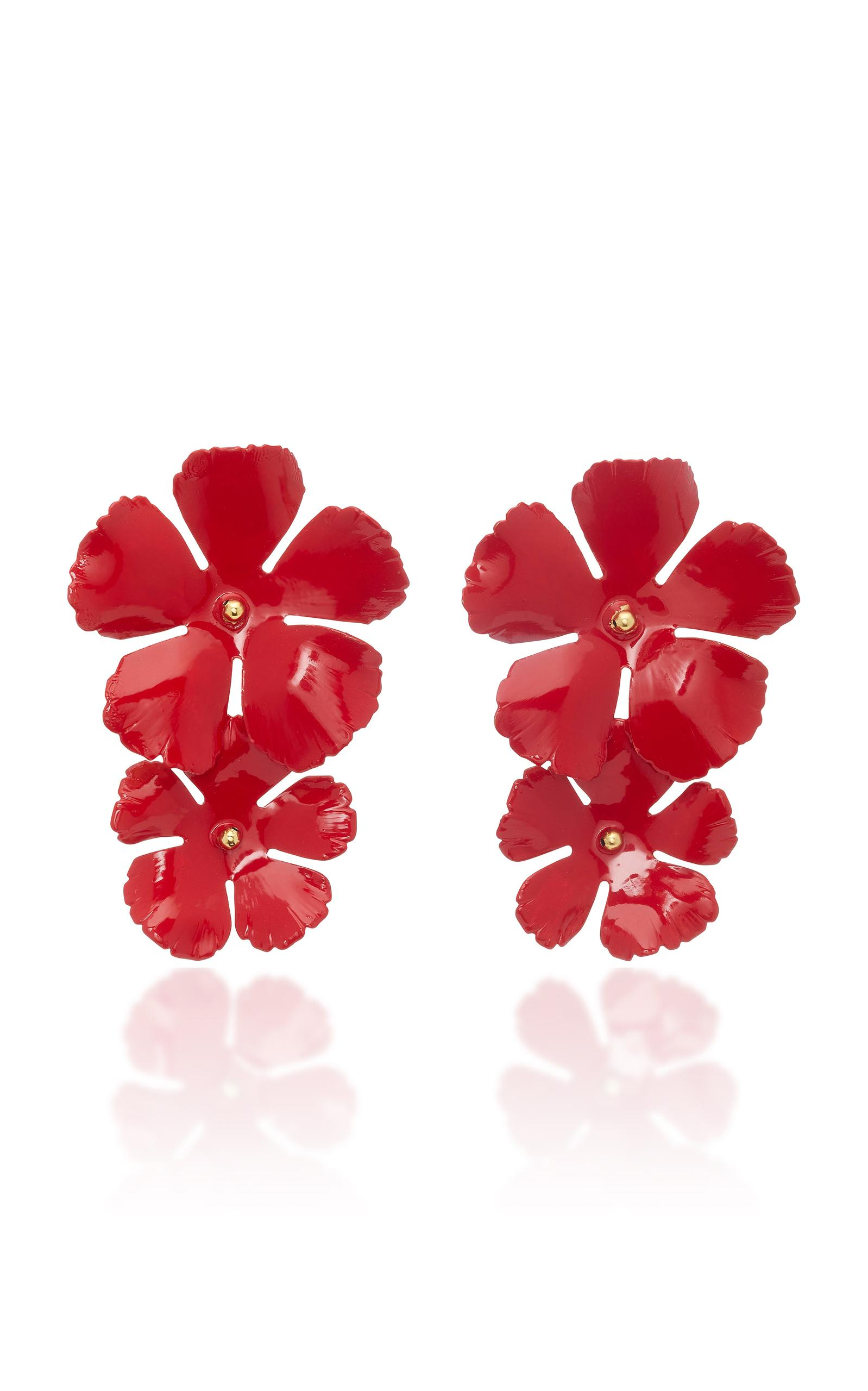 Jennifer Behr Gold-Plated Earrings In Red