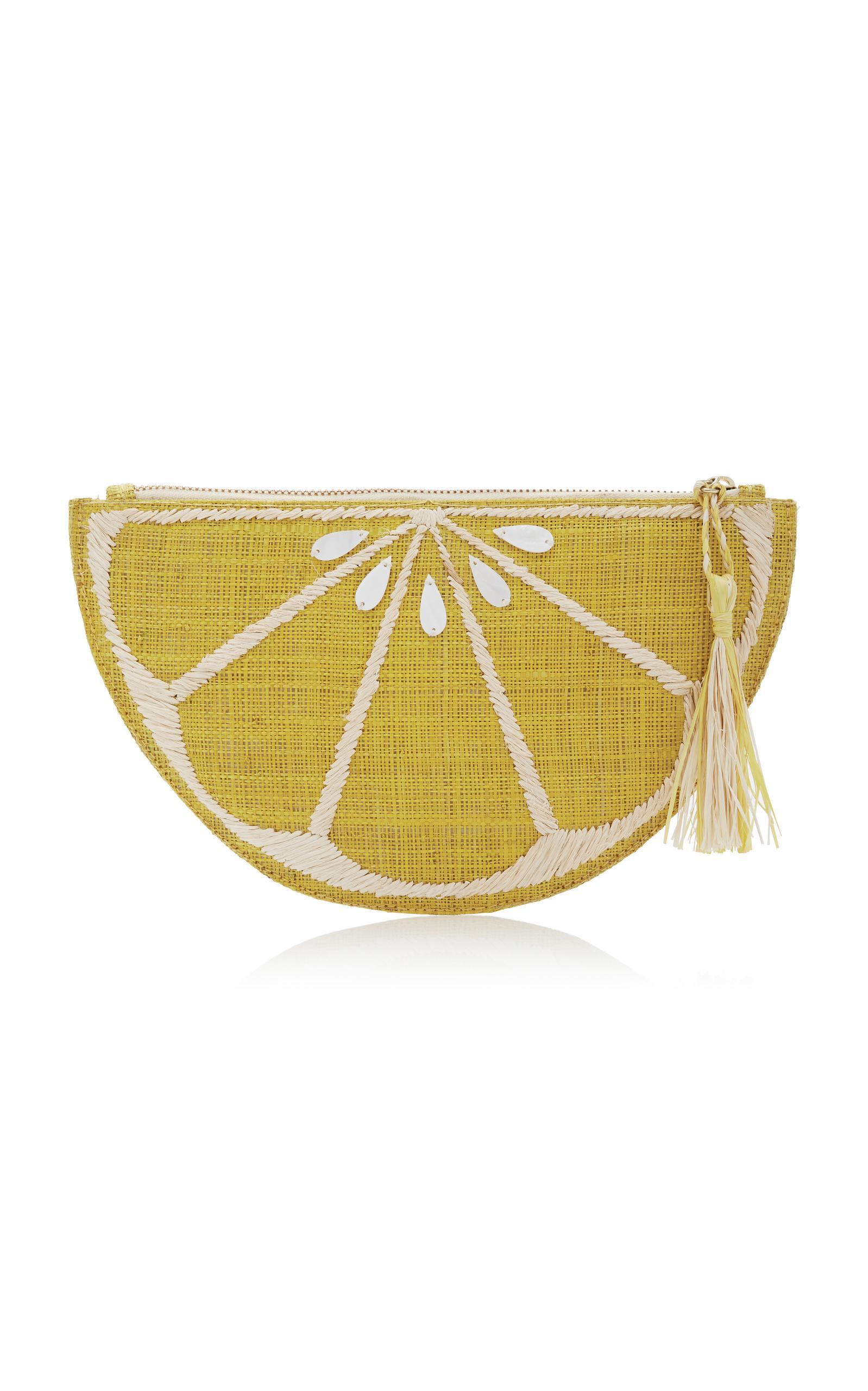 Kayu Limon Raffia Zipper Pouch In Yellow