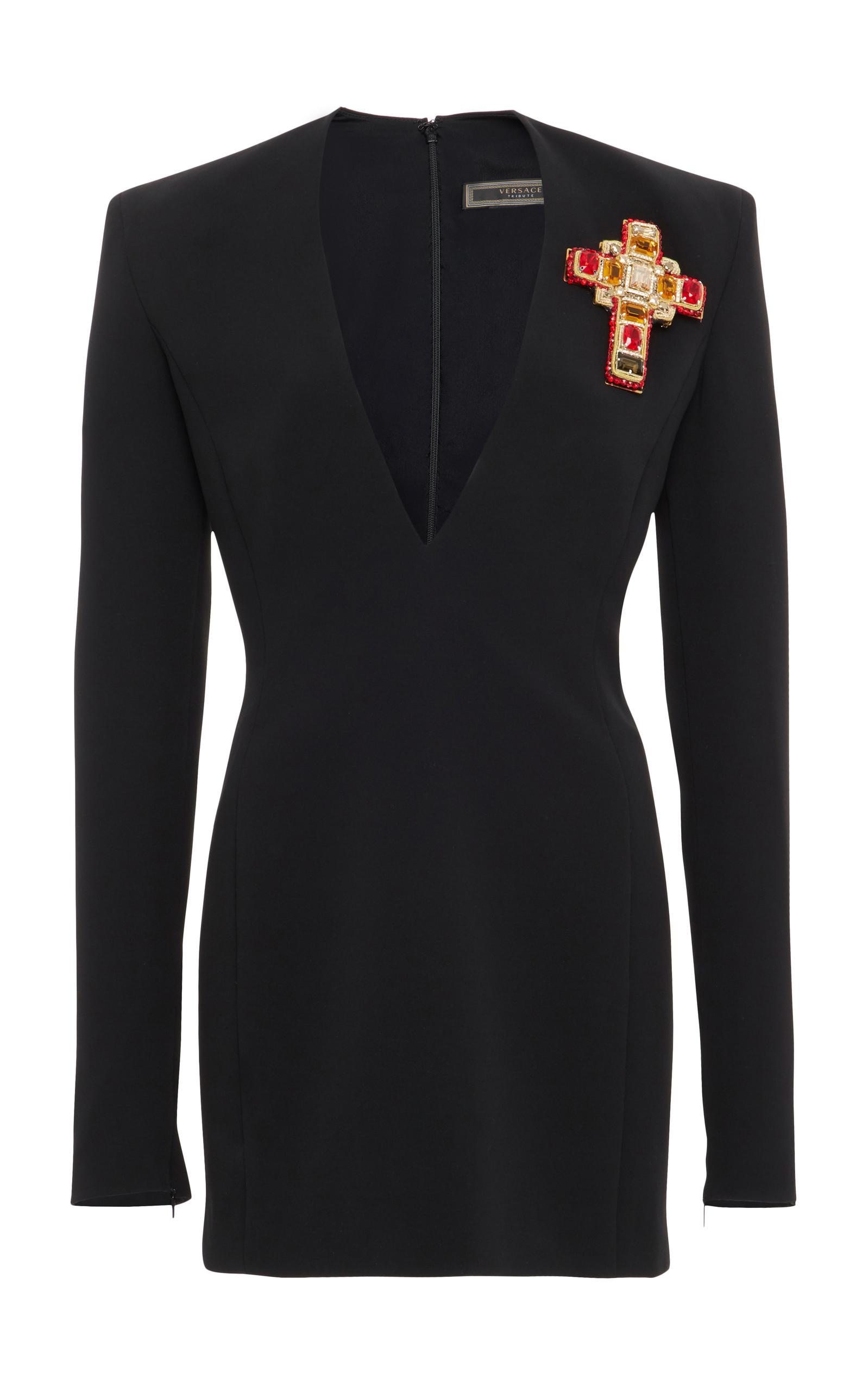 Versace V-Neck Dress In Black