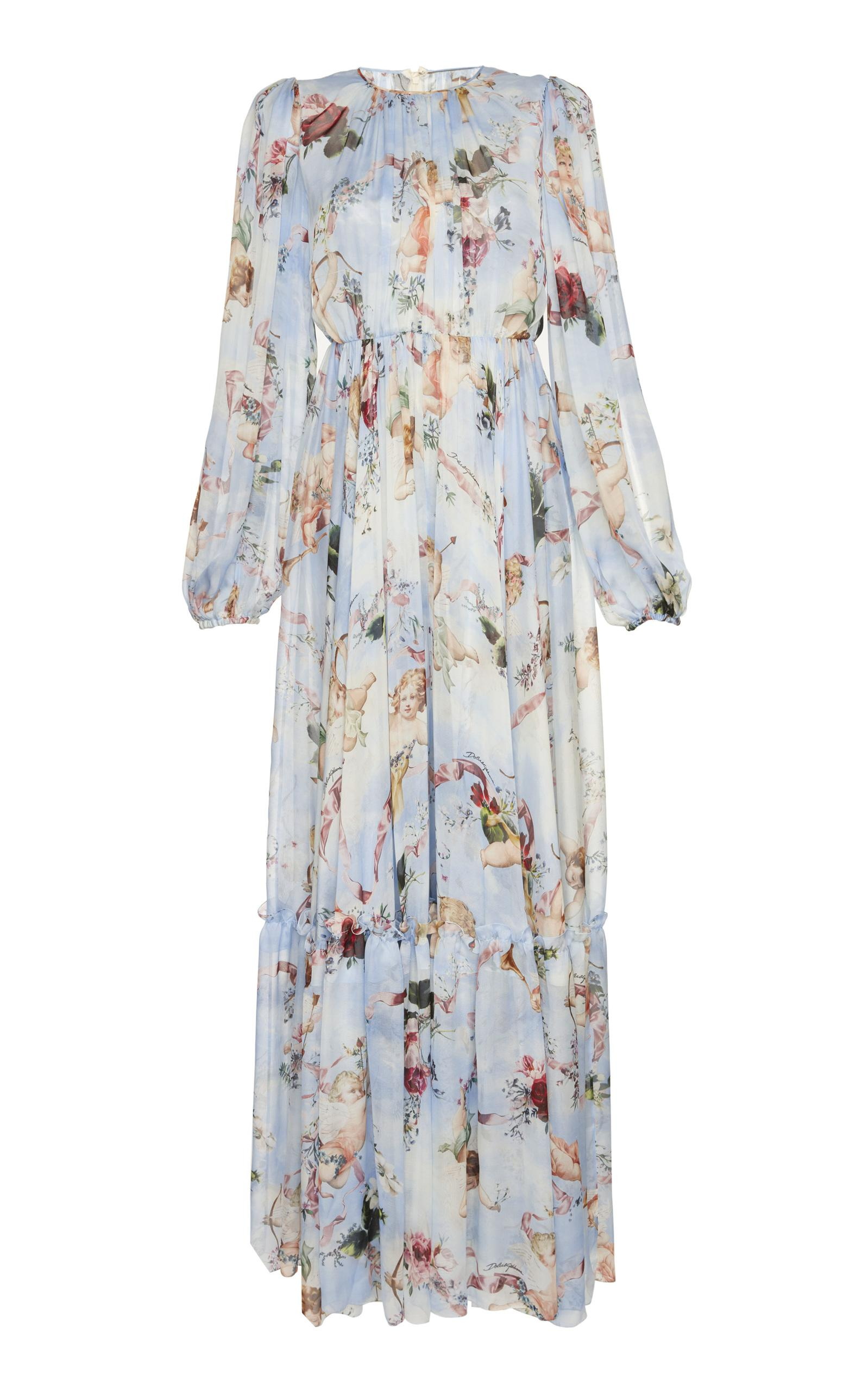 Dolce & Gabbana Long-Sleeve Cherub-Print Chiffon Jumpsuit In Blue