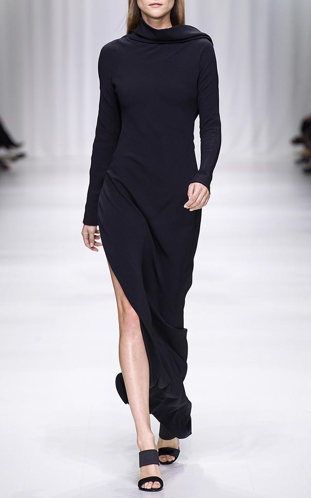 Versace Draped Silk Gown In Black