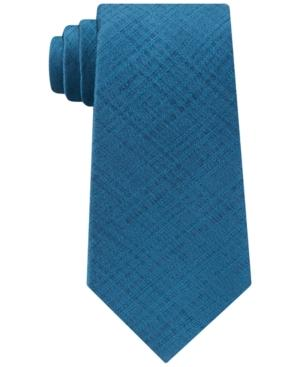 Calvin Klein Men's Basketweave Solid Silk Tie In Teal