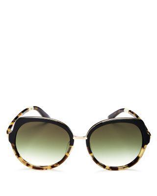 Toms Lottie Round Sunglasses, 56Mm In Black Tortoise Fade/Olive Gradient