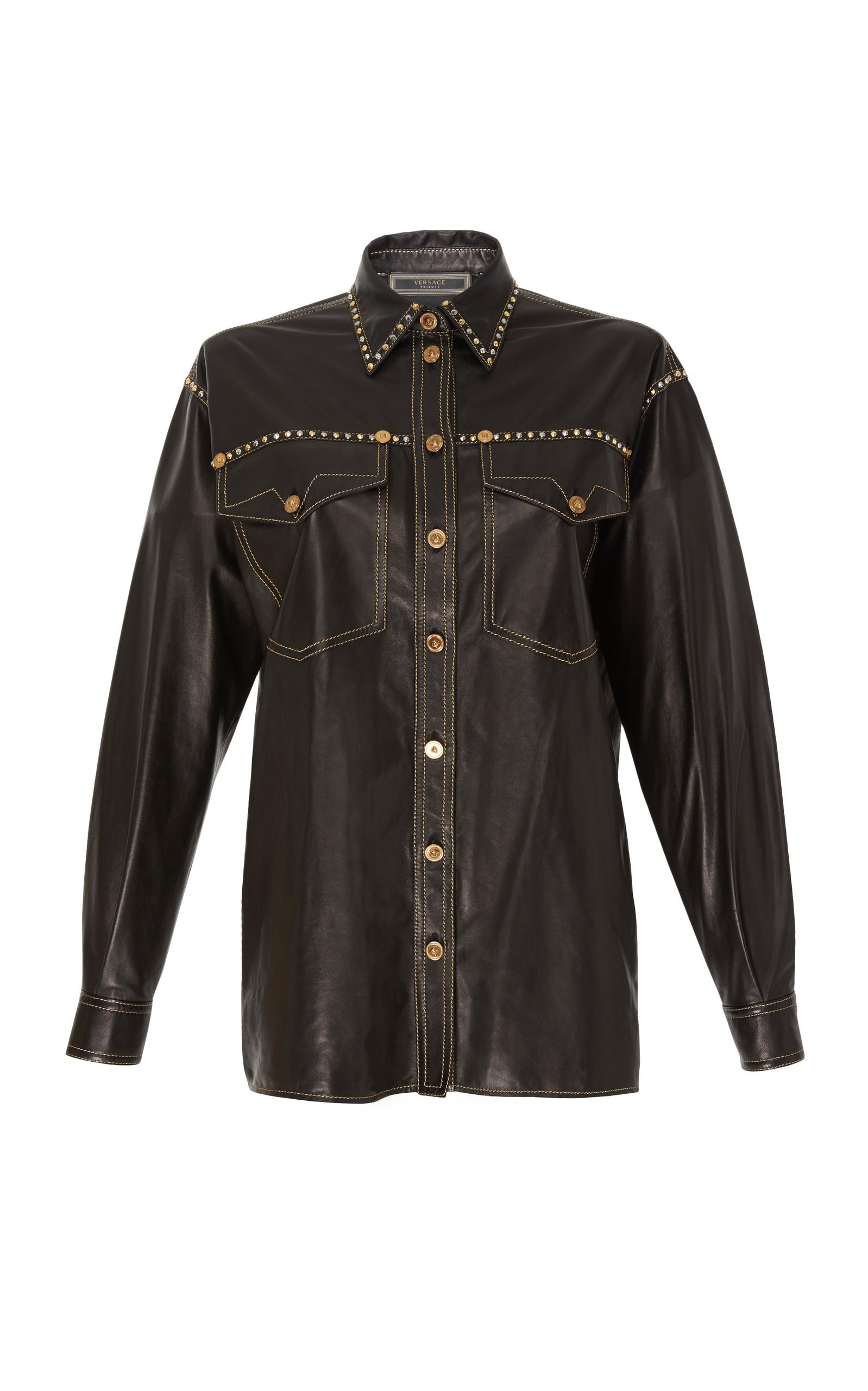 Versace Leather Shirt In Black