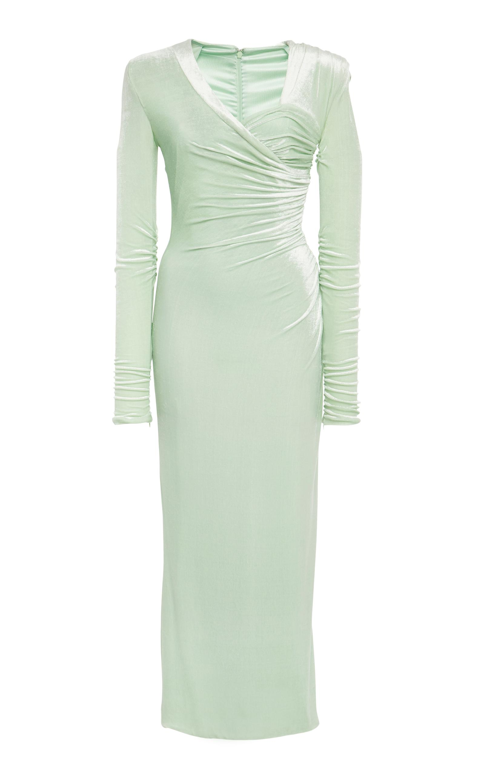 Versace Ruched Chenille Dress In Green
