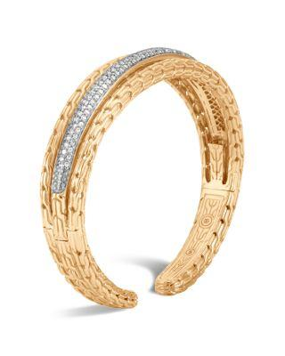 John Hardy 18K Yellow Gold Classic Chain Pave Diamond Small Kick Cuff In White/Gold