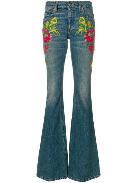 Gucci Embroidered Flare Jeans In Blue