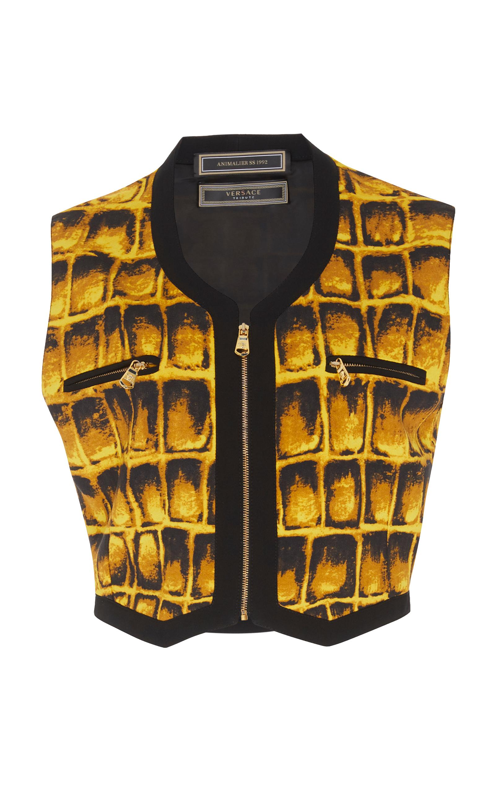 Versace Cropped Vest In Animal
