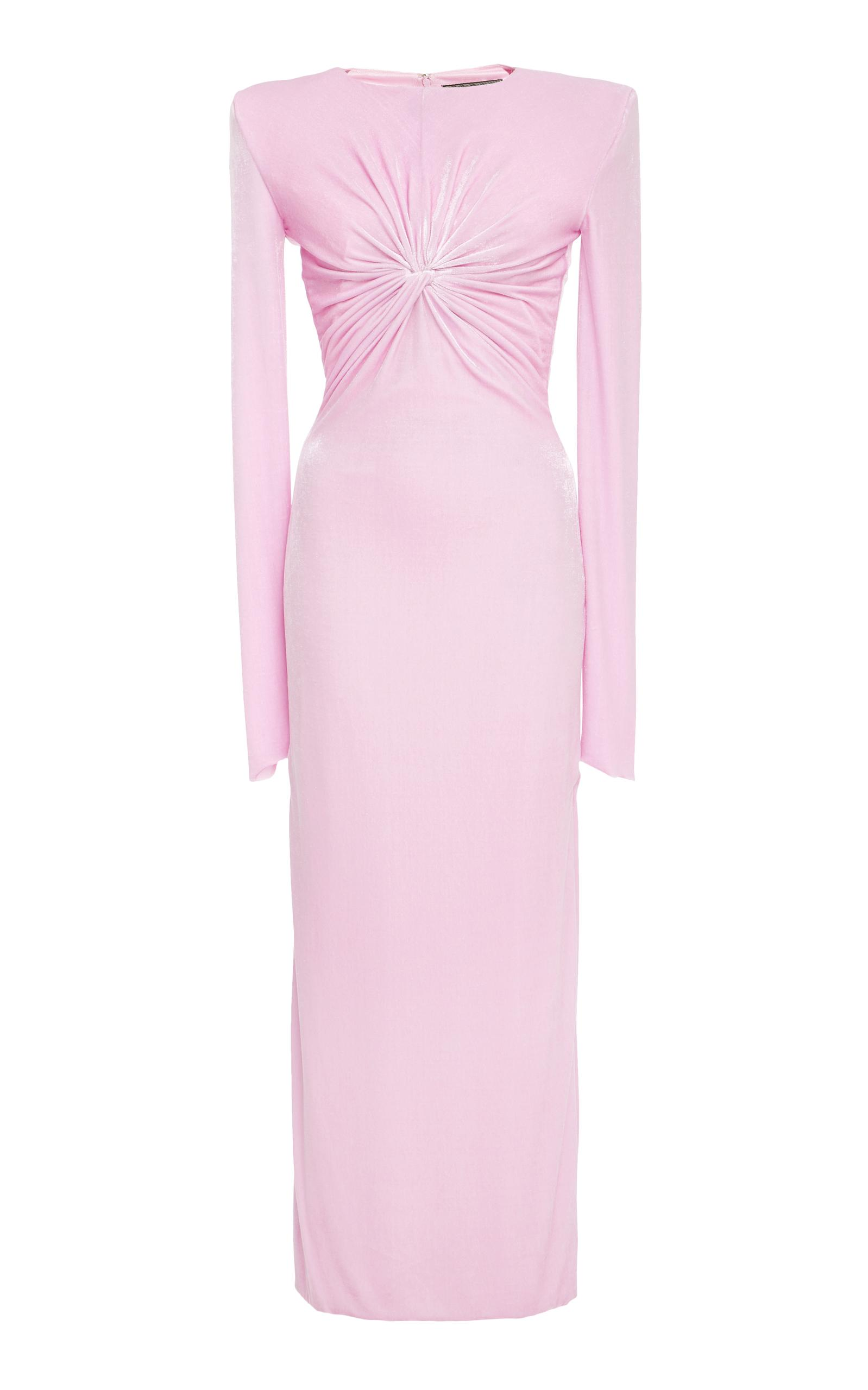 Versace Twisted Knot Chenille Dress In Pink