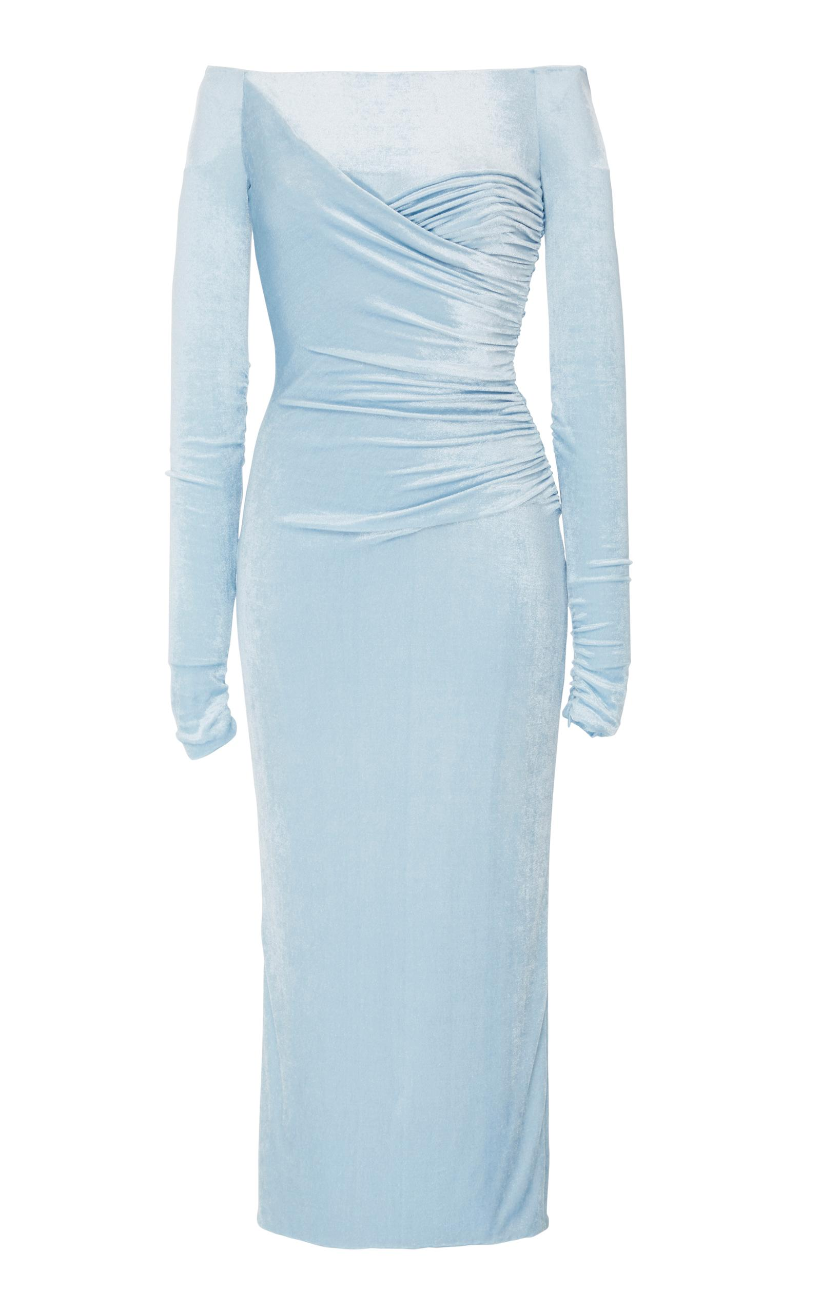 Versace Off-The-Shoulder Chenille Dress In Blue