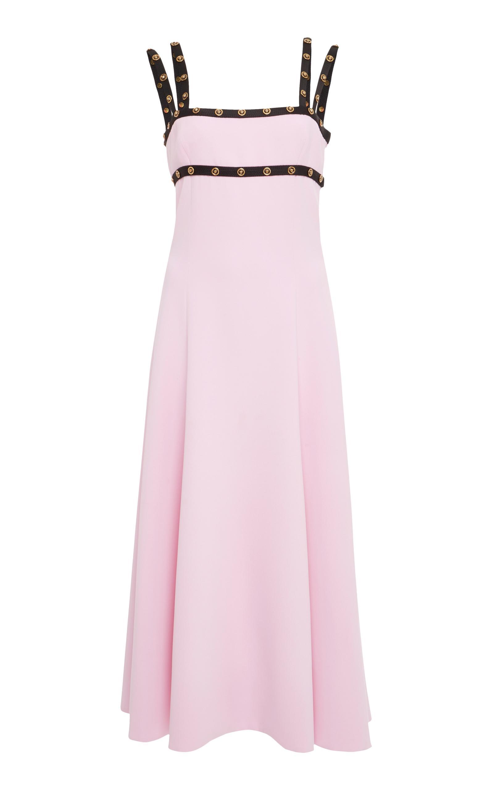 Versace Stud Embellished Dress In Pink