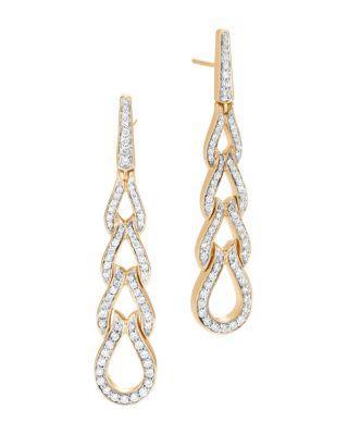 John Hardy 18K Yellow Gold Classic Chain Pave Diamond Long Drop Earrings In White/Gold
