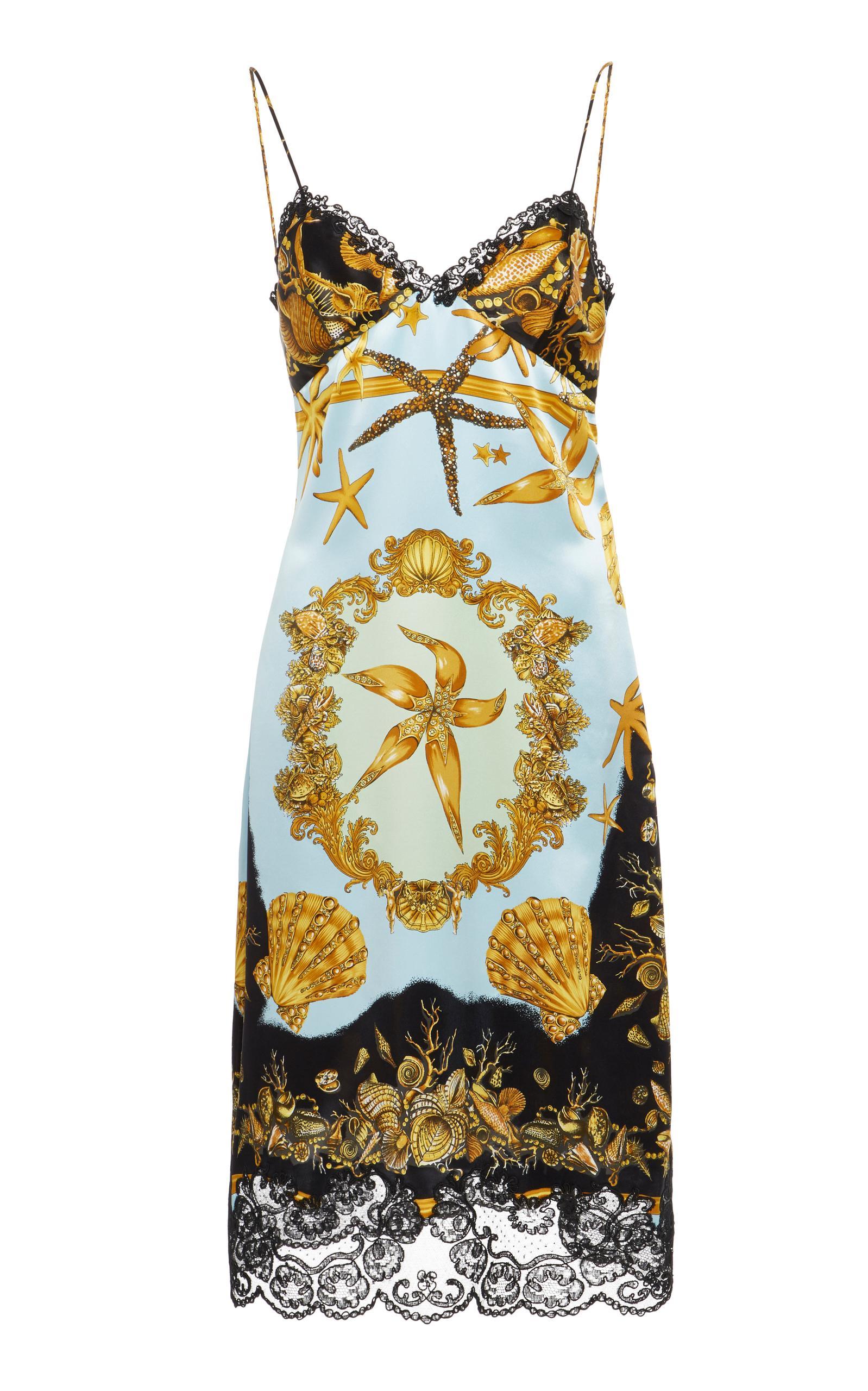 Versace Crepe Satin Slip Dress In Print