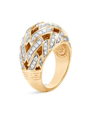 John Hardy 18K Yellow Gold Classic Chain Pave Diamond Dome Ring In White/Gold