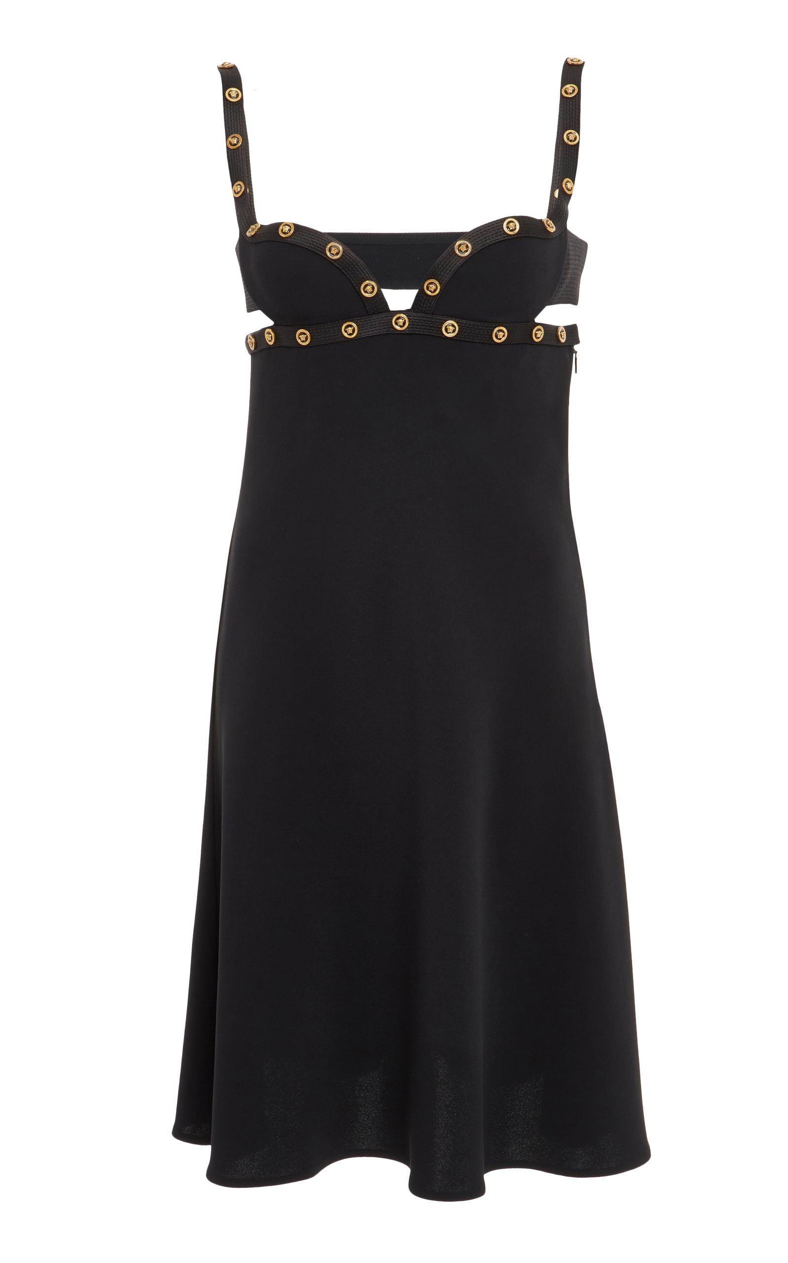 Versace Silk Cady Dress In Black