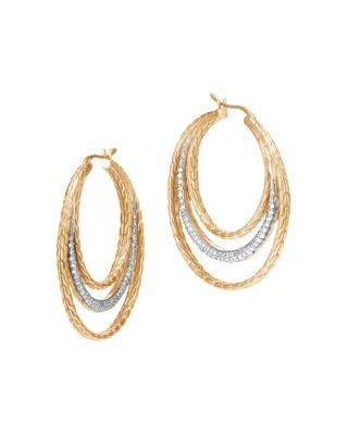 John Hardy 18K Yellow Gold Classic Chain Pave Diamond Medium Hoop Earrings In White/Gold