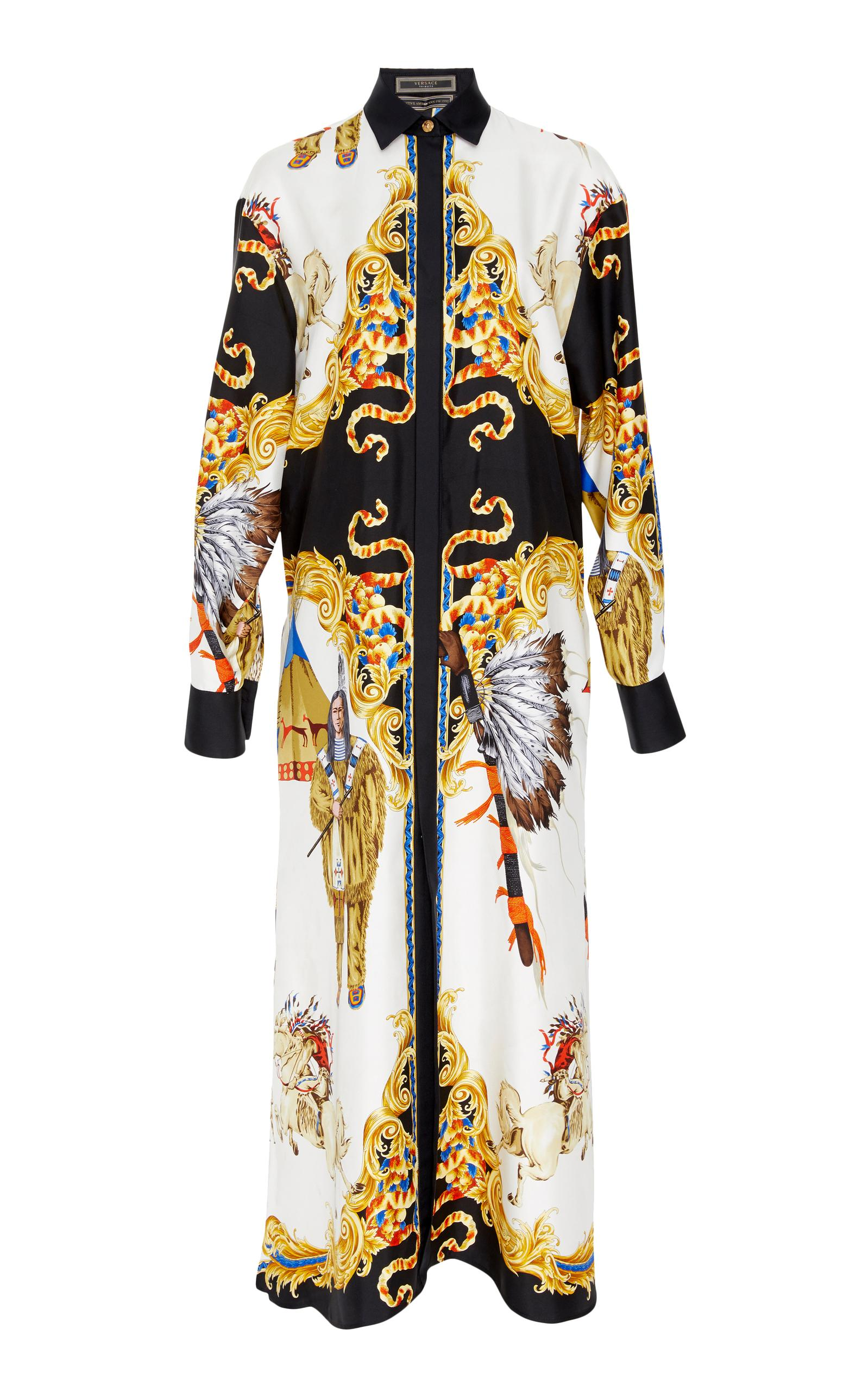 Versace Long Sleeve Shirt Dress In Print