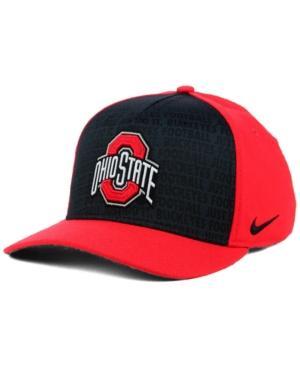 Nike Ohio State Buckeyes Just Do It Swooshflex Cap In Red/Black