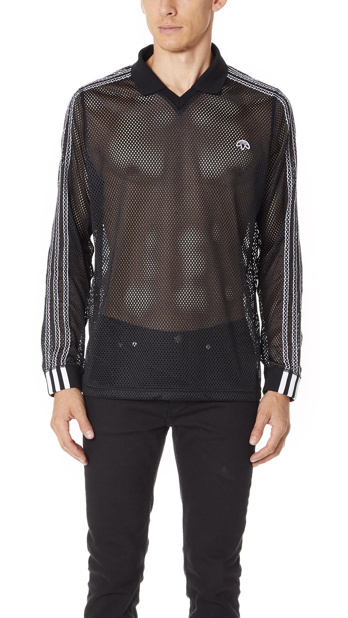 61afdb49ef5c Adidas Originals By Alexander Wang Adidas By Alexander Wang Long Sleeve  Mesh Polo In Black