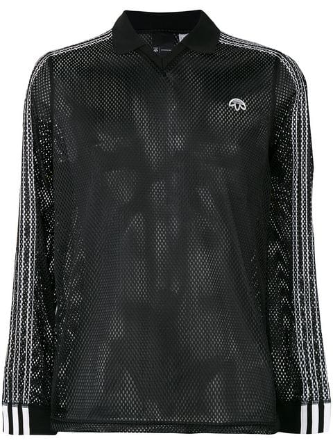 Adidas Originals By Alexander Wang Adidas By Alexander Wang Long Sleeve Mesh Polo In Black