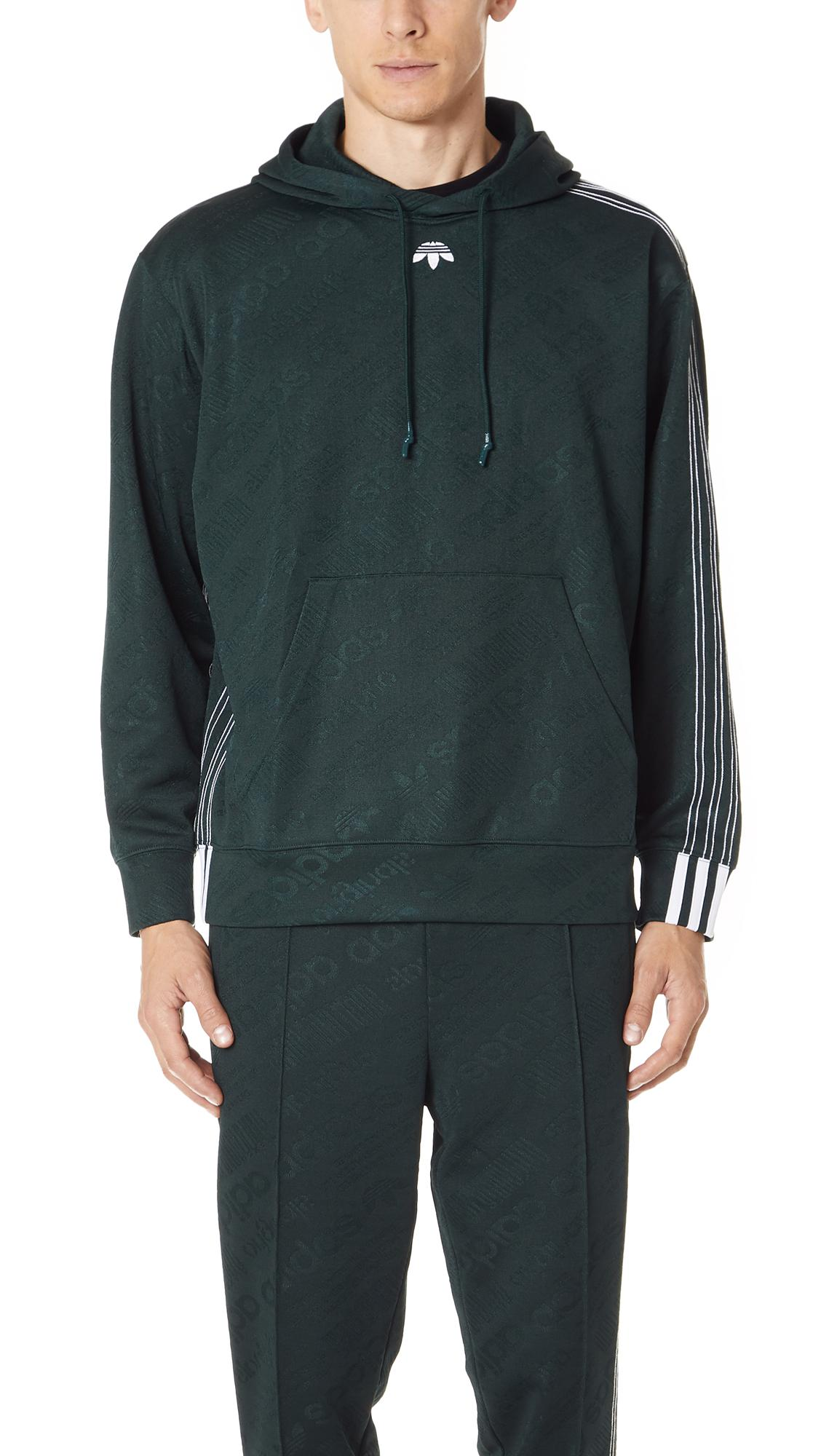 Adidas Originals By Alexander Wang Aw Jacquard Hoodie In Green