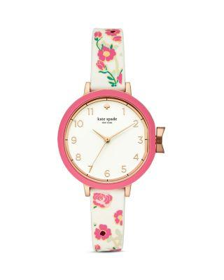 Kate Spade Park Row Silicone Strap Watch, 34Mm In Pink/White/Rose Gold