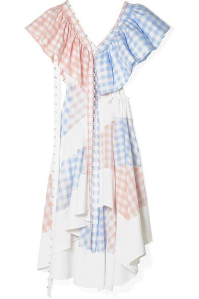 Loewe Convertible Cutout Twill And Gingham Poplin Dress In Blush