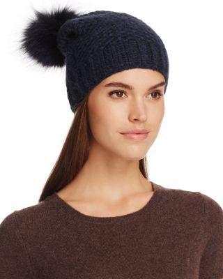 Inverni Fur Pom-Pom Slouchy Beanie - 100% Exclusive In Navy