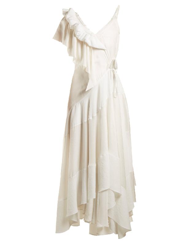 Loewe Cutout Ruffled Jacquard And Crepe Dress In White