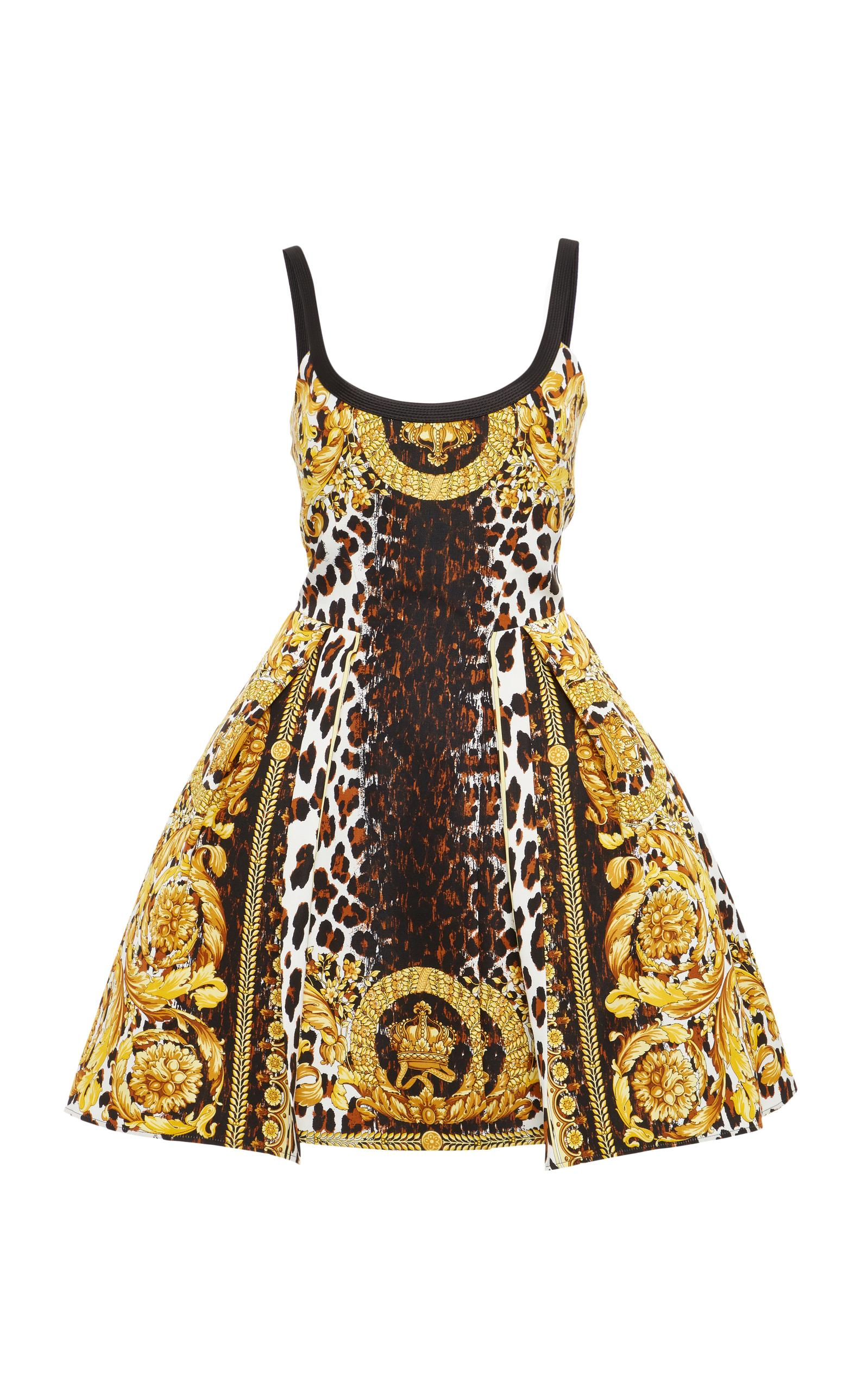 Versace Flounced Printed Dress