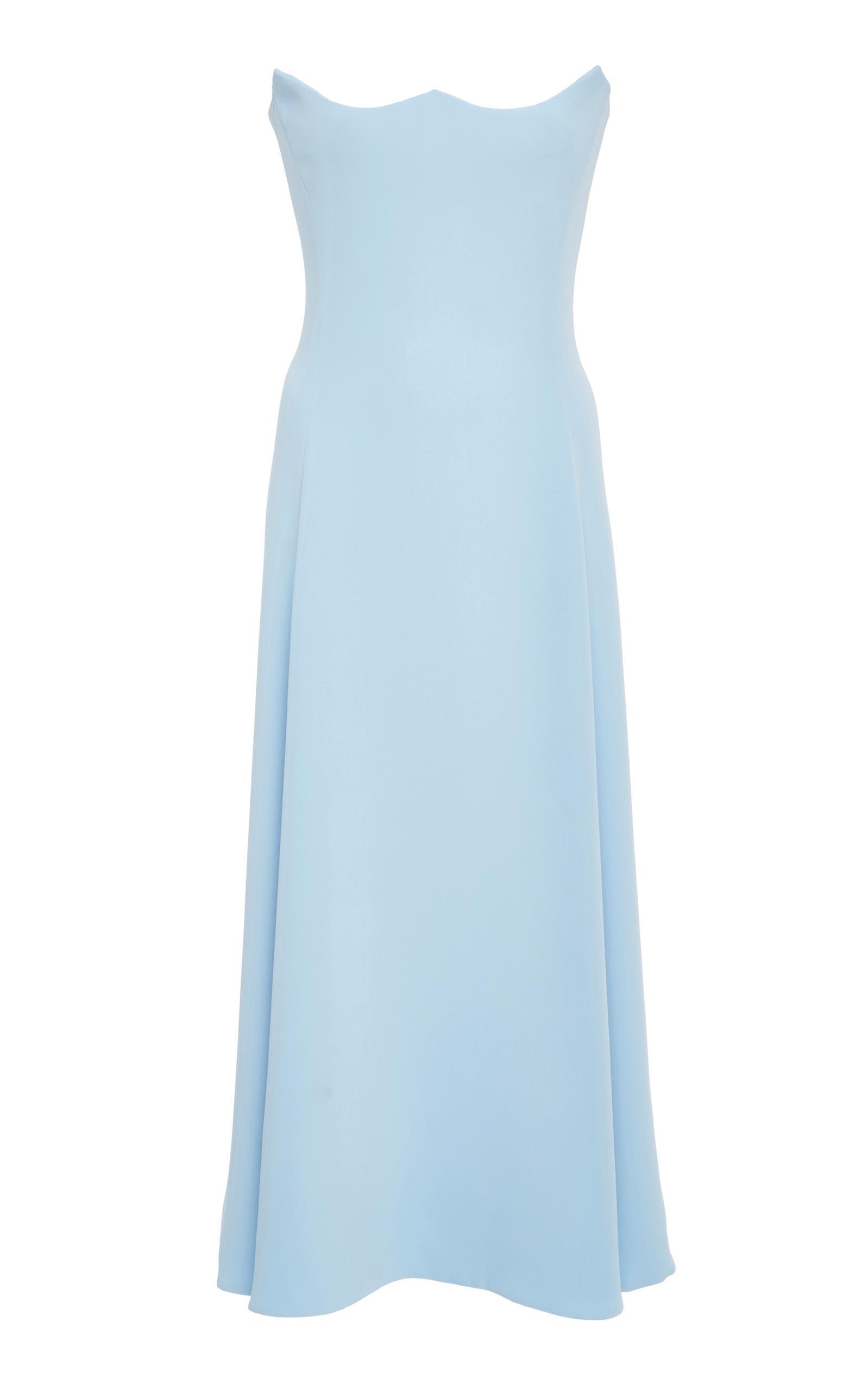 Versace Strapless Silk Dress In Blue
