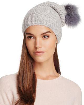 Inverni Fur Pom-Pom Slouchy Beanie - 100% Exclusive In Light Gray