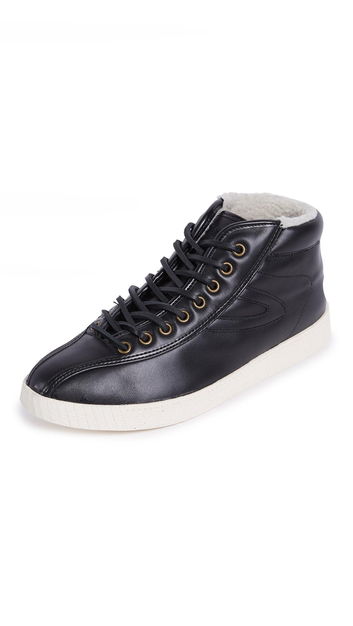Tretorn Nylite High Leather Sneakers In Black