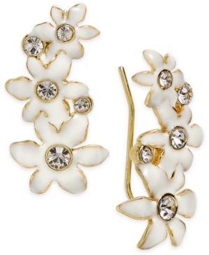 Kate Spade New York Gold-Tone Crystal White Flower Ear Climber Earrings