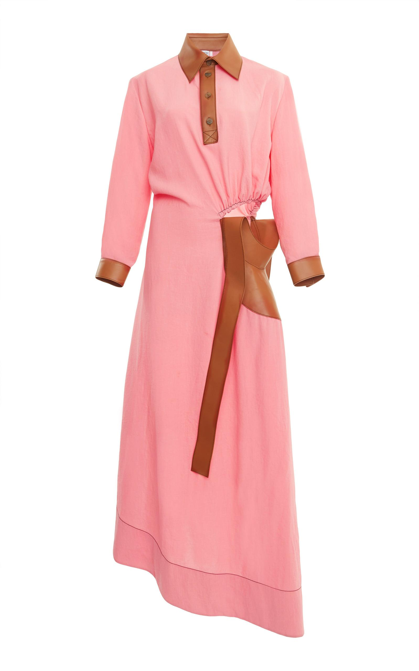 Loewe Polo Dress With Leather Inserts In Pink