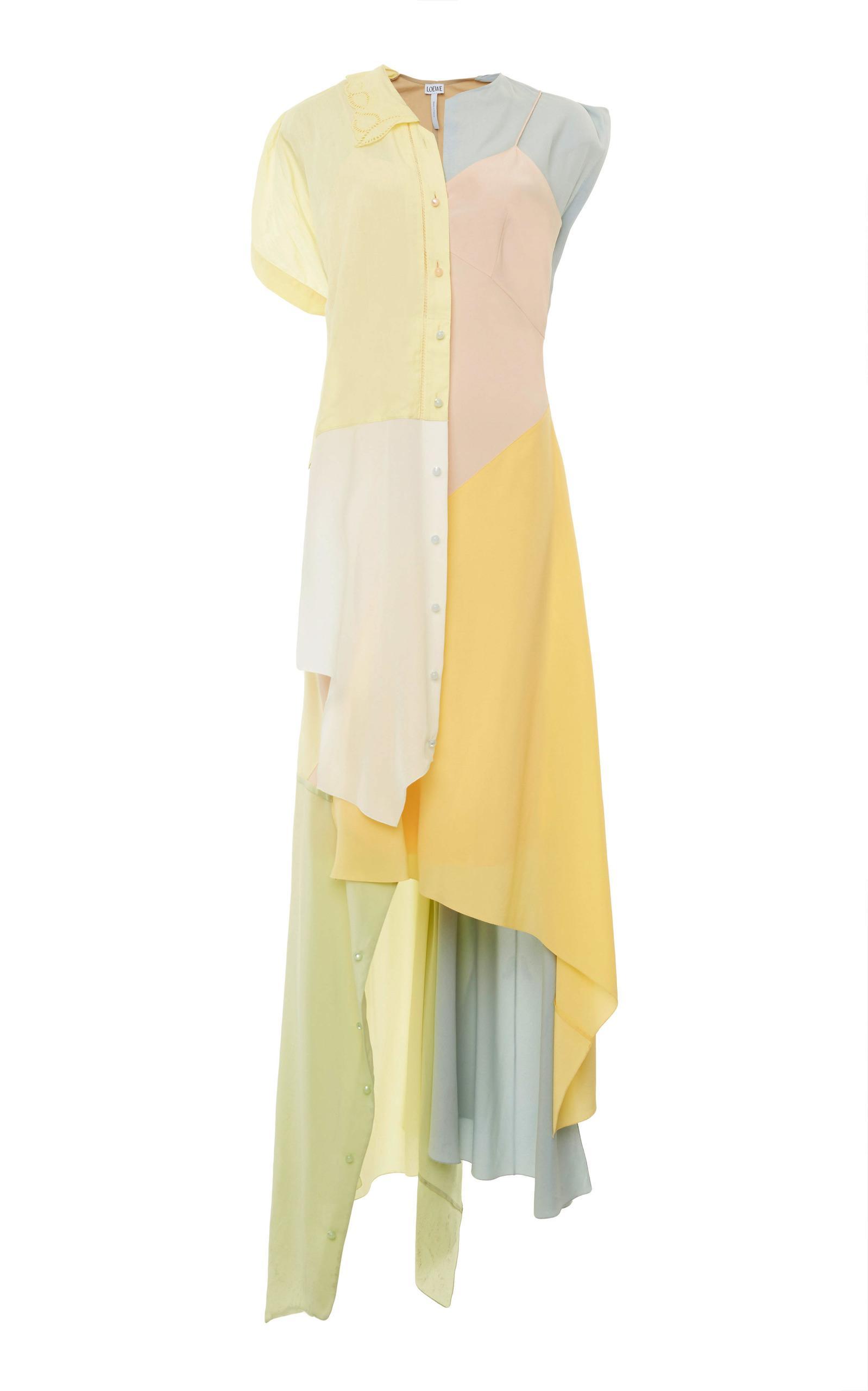 Loewe Asymmetric Patchwork Midi Dress In Multi