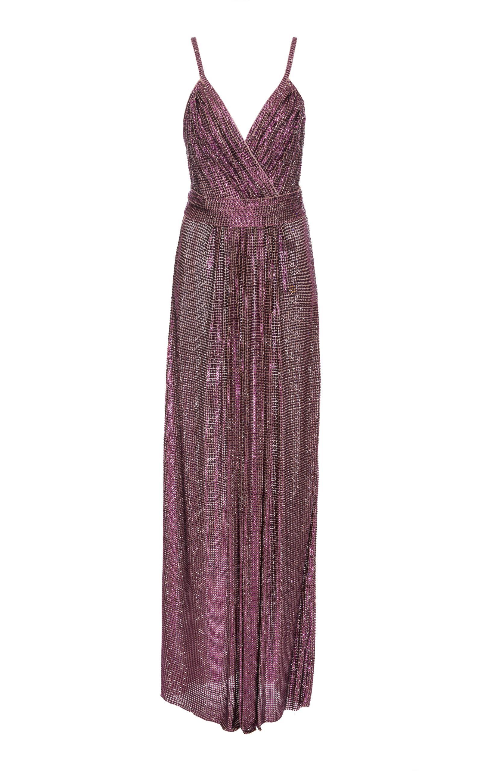 Dolce & Gabbana Sequin Wrap Gown In Purple