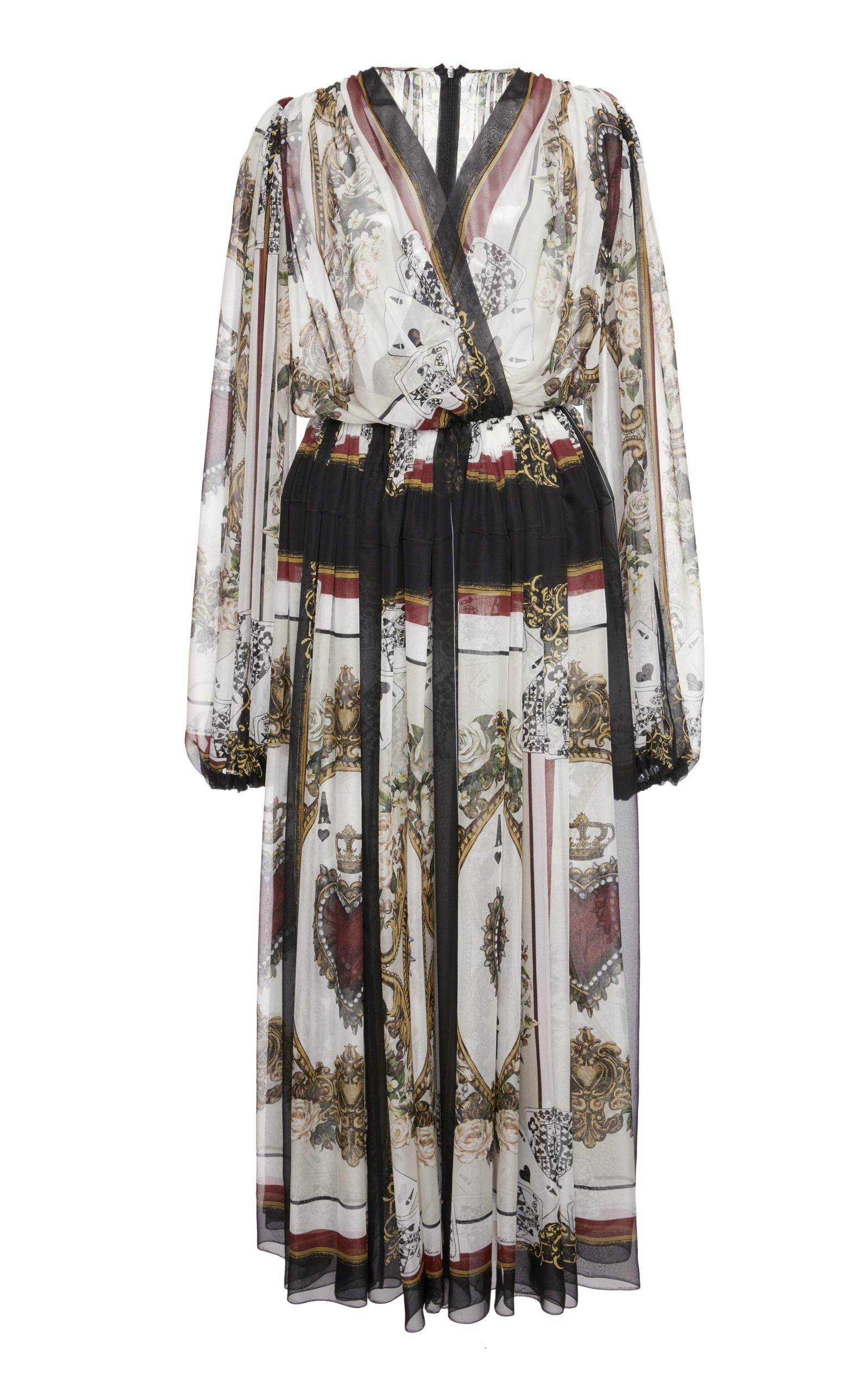 Dolce & Gabbana Printed Long Sleeve Wrap Dress