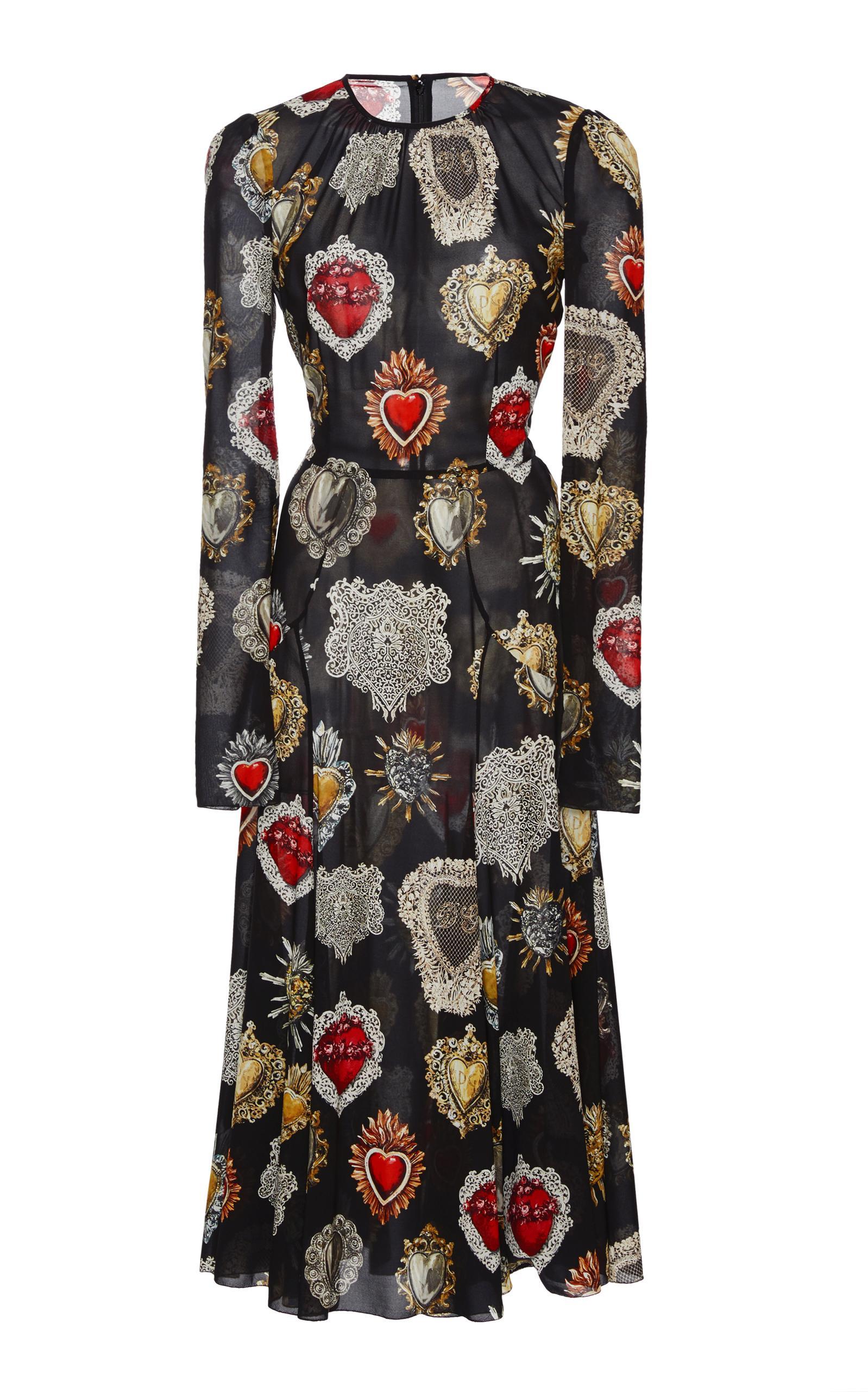 Dolce & Gabbana Printed Midi Dress In Black/White