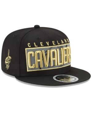 New Era Cleveland Cavaliers Golden Reflective 9Fifty Snapback Cap In Black/Metallic Gold/Reflective Silver